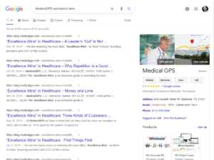 Google Results fro MedicalGPS Excellence Wins