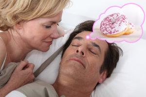 man dreaming of donuts