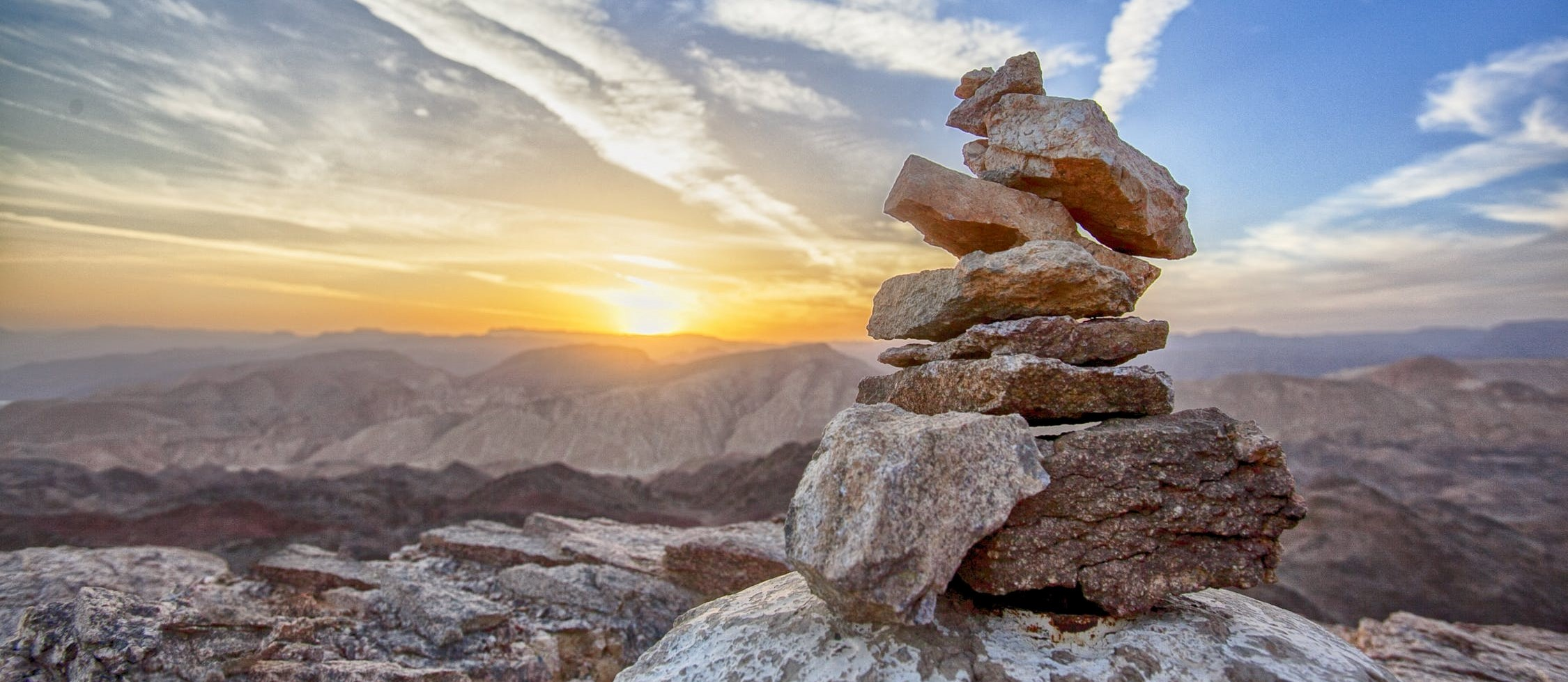 balanced rocks on a mountain top